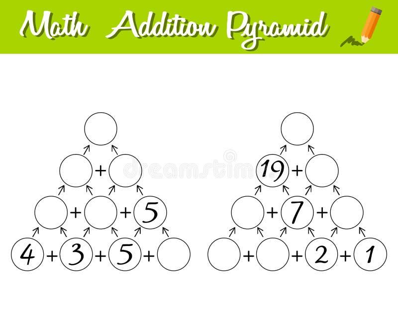 Gioco 0-30 della piramide di per la matematica Educativo un gioco matematico Livello del principiante Puzzle matematico illustrazione vettoriale