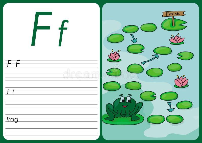 Gioco della rana del fumetto Pagine di vettore per i bambini illustrazione di stock