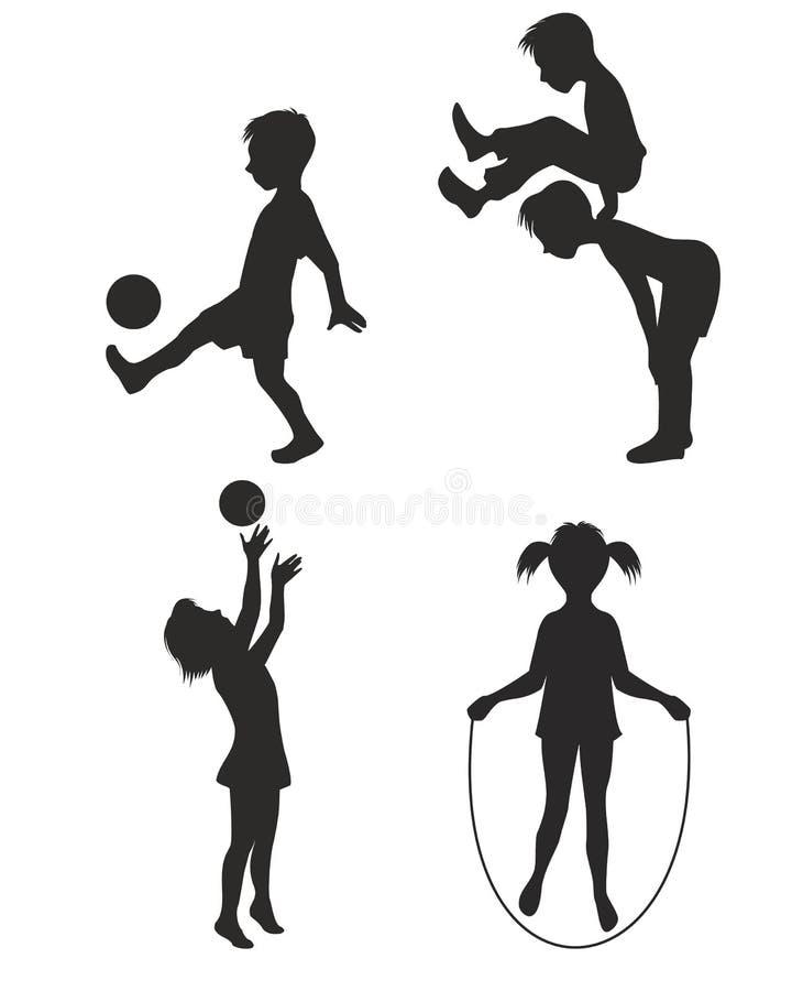 Gioco della siluetta dei bambini illustrazione vettoriale