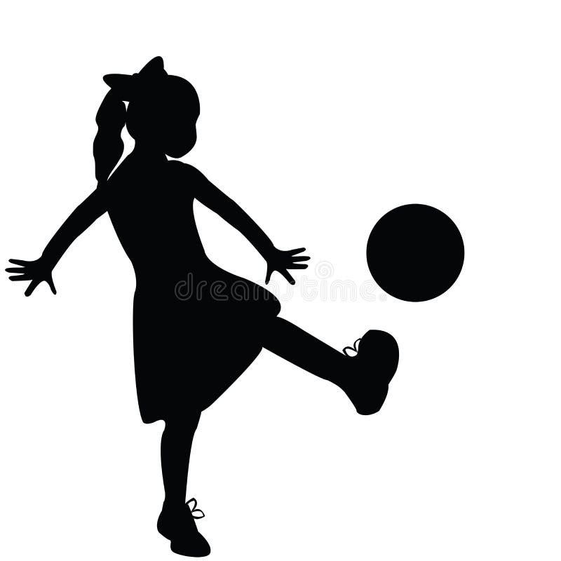 Gioco della siluetta della ragazza illustrazione vettoriale