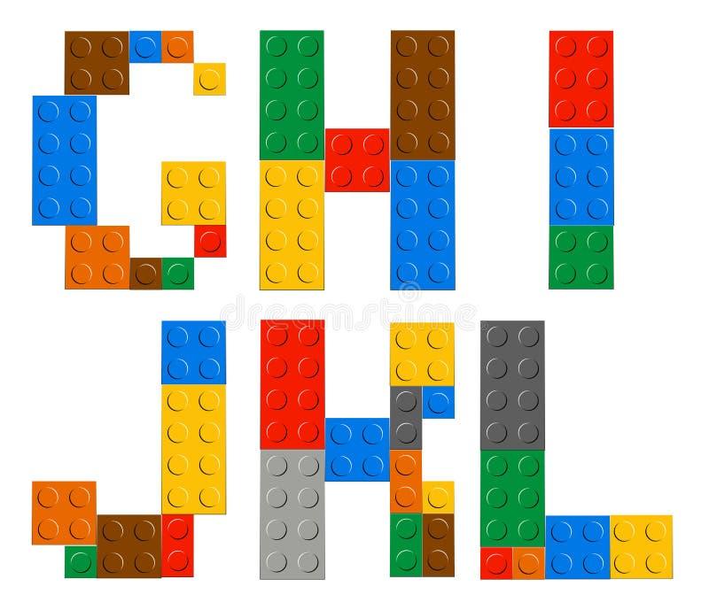 Gioco delle lettere di alfabeto del giocattolo del mattone royalty illustrazione gratis