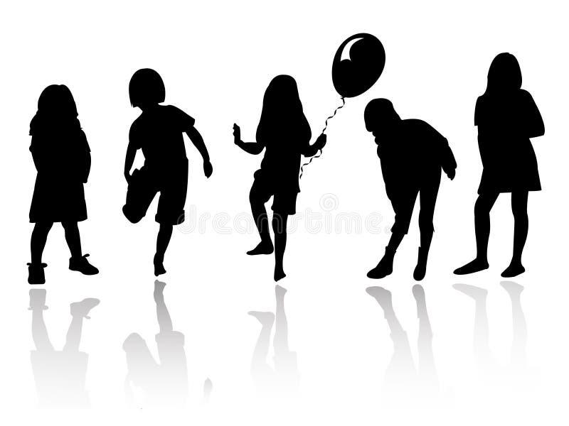 Gioco delle ragazze della siluetta royalty illustrazione gratis