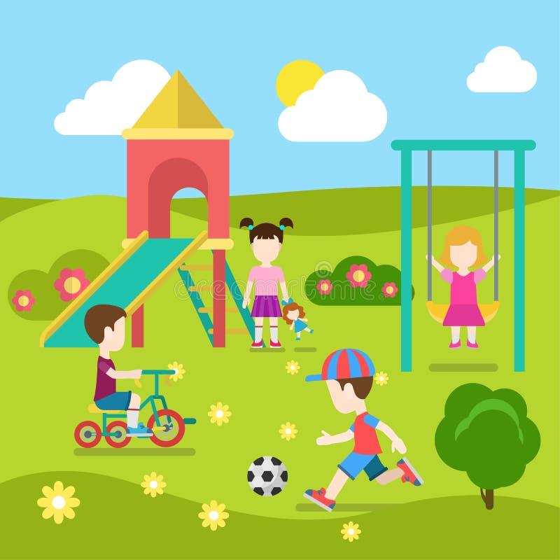 Gioco di bambini al campo da giuoco nella raccolta piana di vettore di infanzia illustrazione vettoriale