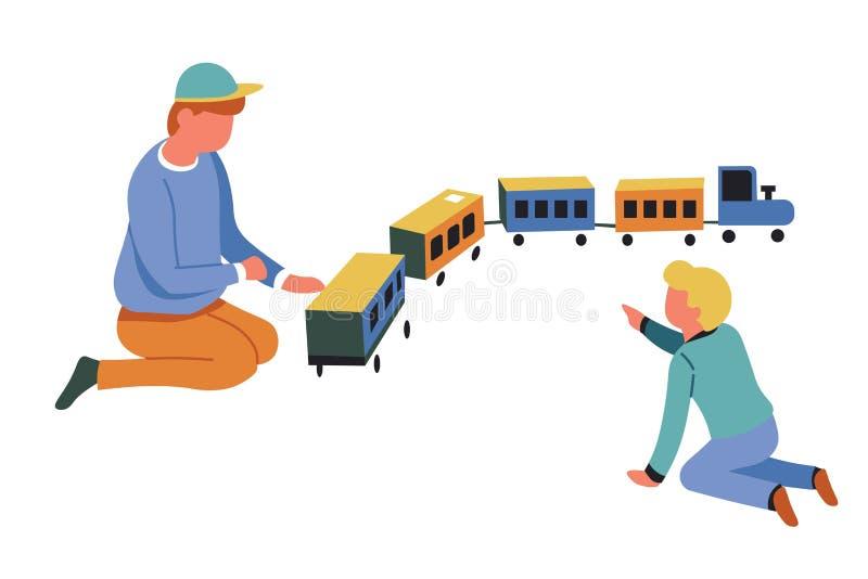 Gioco di bambini con i ragazzi del treno del giocattolo che giocano la locomotiva del gioco royalty illustrazione gratis