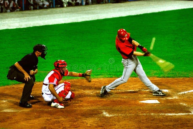gioco di baseball del Cuba-Canada fotografia stock