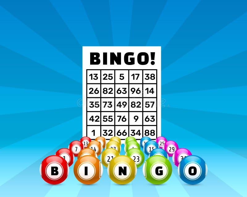 Gioco di bingo di lotteria, palle con i numeri e illustrazione vettoriale
