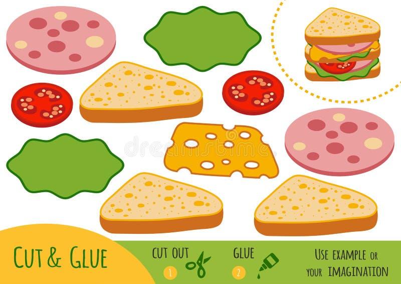 Gioco di carta per i bambini, panino di istruzione illustrazione vettoriale