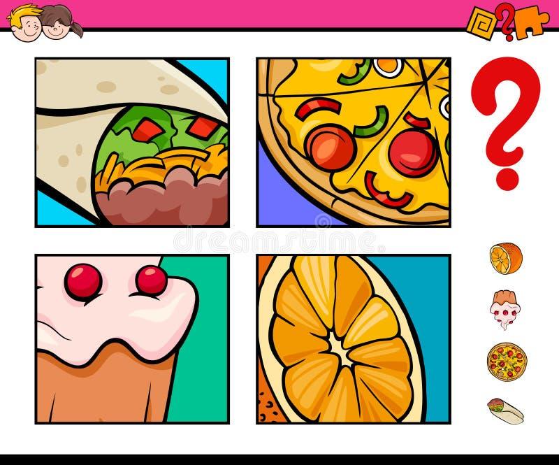 Gioco di congettura con gli oggetti dell'alimento illustrazione di stock