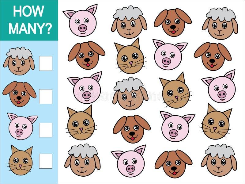 Gioco di conteggio dei quanti animali Gioco matematico per i bambini illustrazione vettoriale
