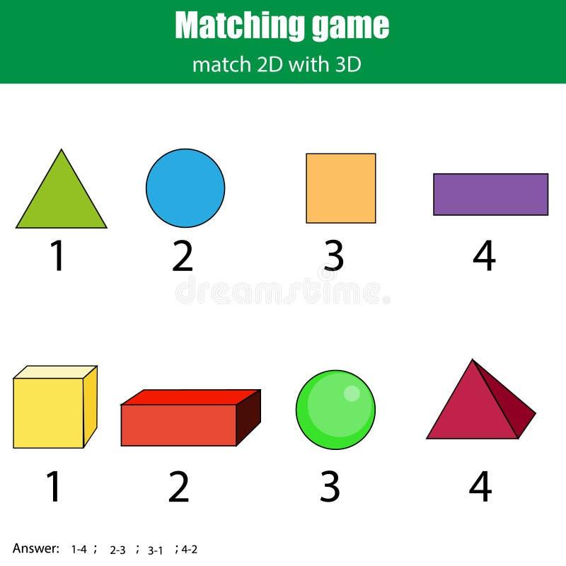 Gioco di corrispondenza Attività educativa dei bambini Apprendimento del tema geometrico di forme 2D e 3D royalty illustrazione gratis