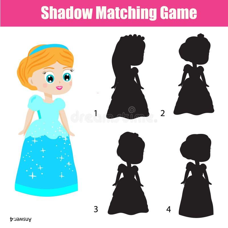 Gioco di corrispondenza dell'ombra Scherza l'attività con bella principessa illustrazione vettoriale