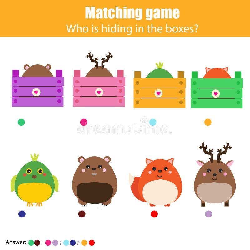 Gioco di corrispondenza di istruzione dei bambini, attività dei bambini Animali della partita con la scatola royalty illustrazione gratis