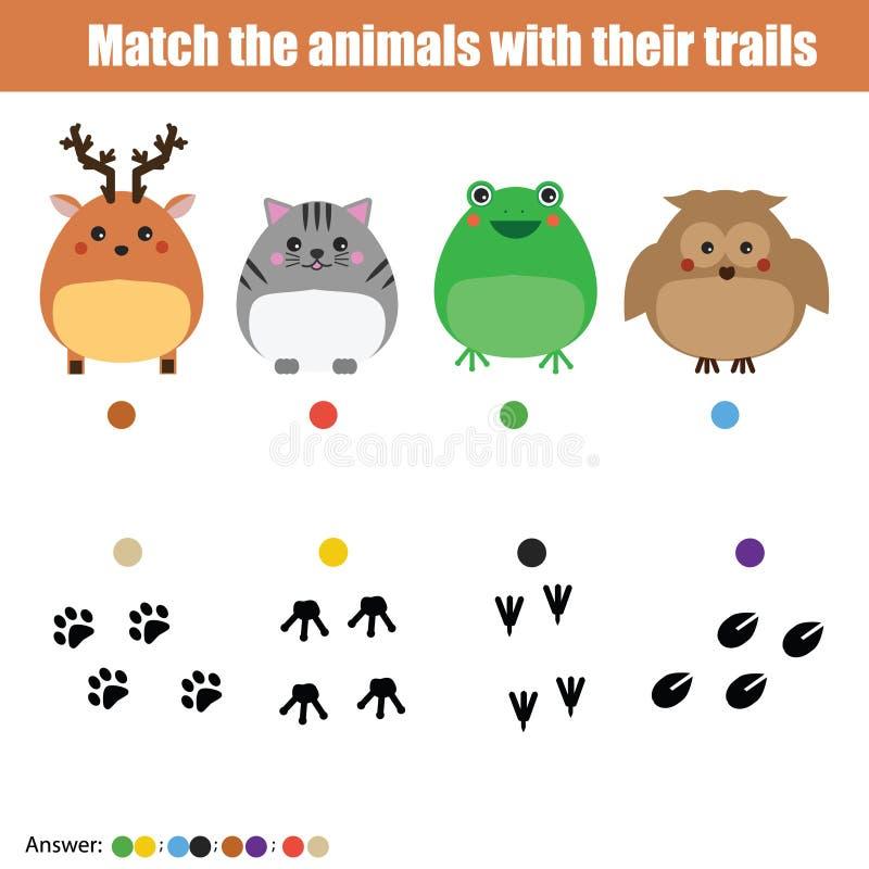Gioco di corrispondenza di istruzione dei bambini, attività dei bambini Animali della partita con le tracce illustrazione di stock