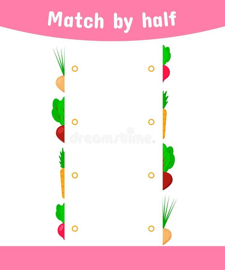 Gioco di corrispondenza per i bambini Colleghi le metà della verdura cipolle, barbabietole, carote, ravanelli illustrazione vettoriale