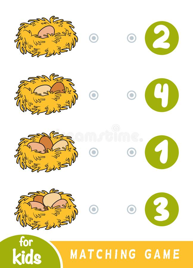 Gioco di corrispondenza per i bambini Conti quanto uova sono nel nido e scelga il numero corretto illustrazione vettoriale