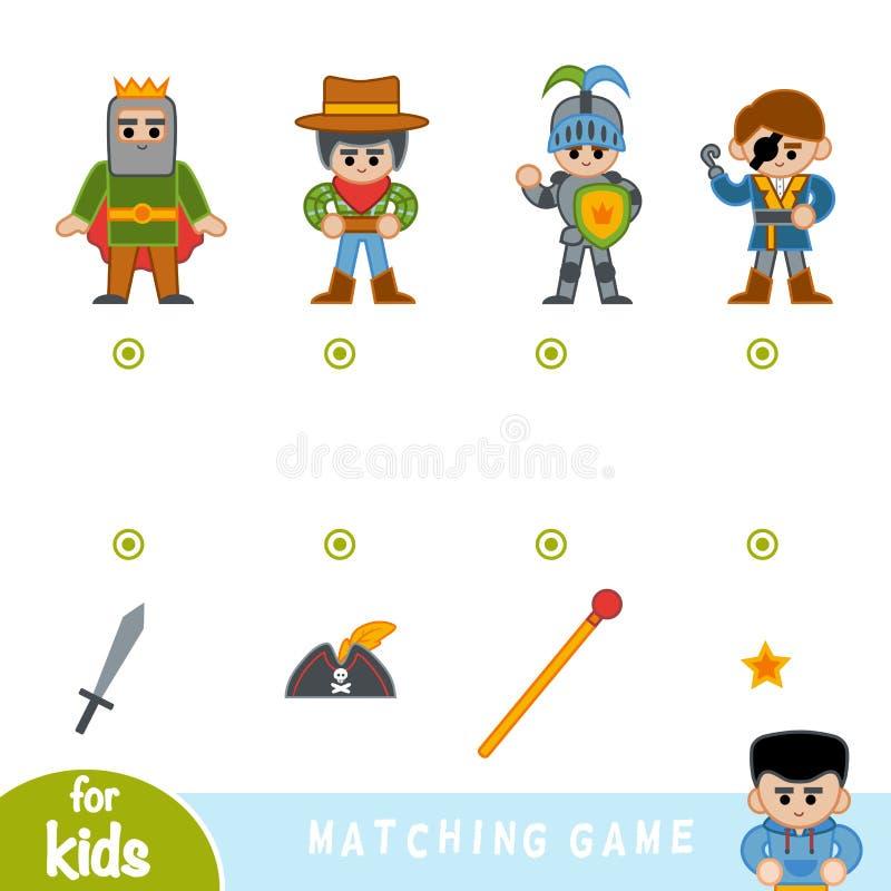 Gioco di corrispondenza, gioco per i bambini, insieme dei personaggi dei cartoni animati illustrazione di stock
