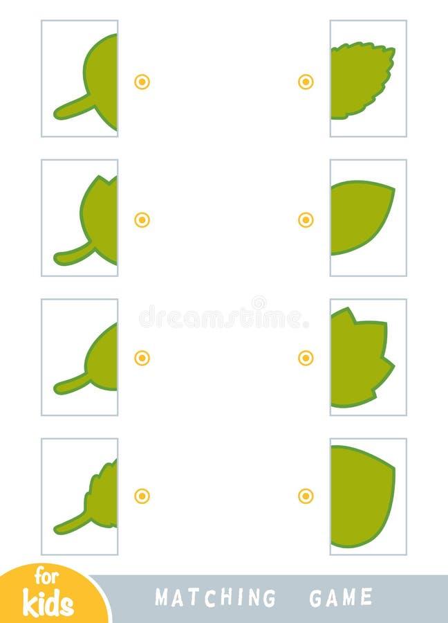 Gioco di corrispondenza, gioco per i bambini Partita le metà Metta delle foglie di autunno illustrazione di stock