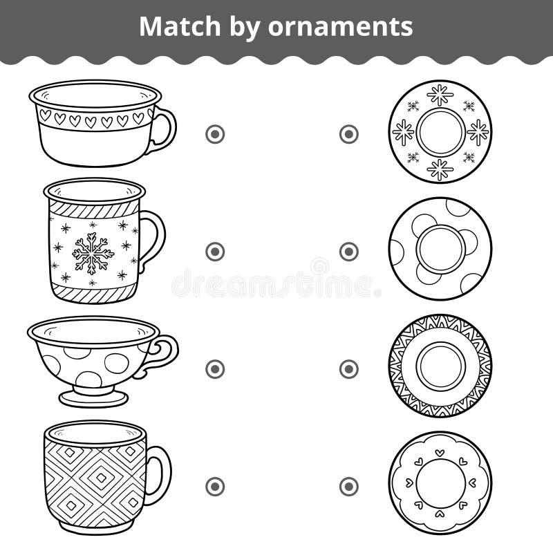 Gioco di corrispondenza per i bambini Piatti e tazze di partita dall'ornamento illustrazione vettoriale