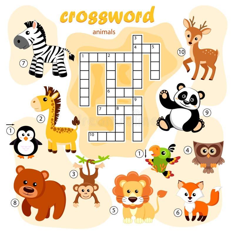 Gioco di cruciverba degli animali Panda, volpe, cervo, orso, gufo, giraffa, leone, zebra, scimmia, pappagallo, pinguino illustrazione di stock