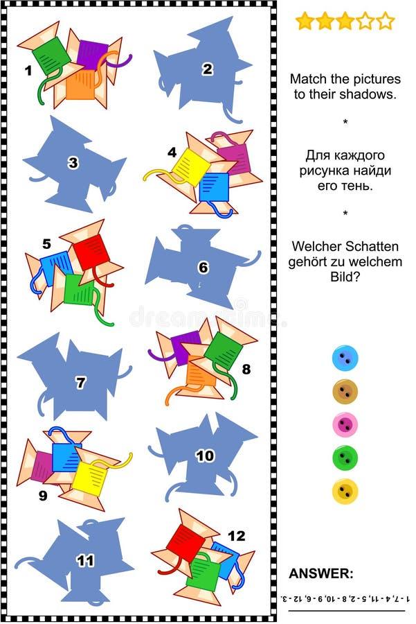 Gioco di cucito di corrispondenza dell'ombra delle bobine illustrazione vettoriale