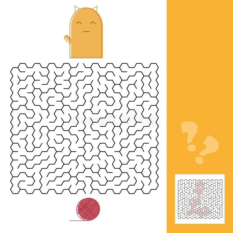 Gioco di Kitten And Wool Ball Maze con l'illustrazione di vettore della soluzione illustrazione vettoriale