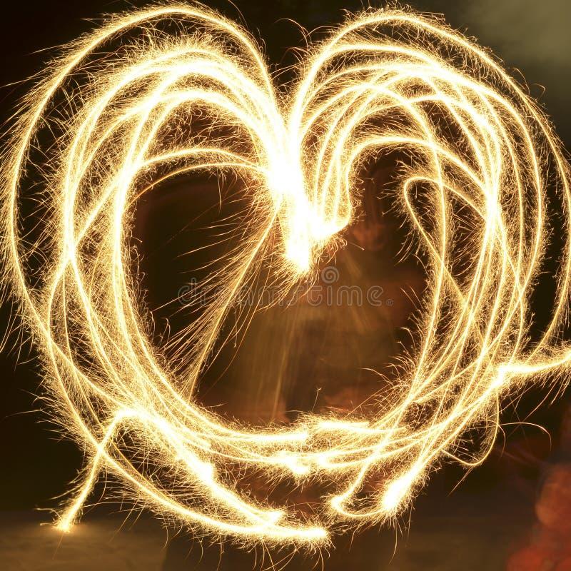 Gioco di luce Freezelight Cuore delle luci Giorno del `s del biglietto di S Per gli amanti fotografia stock libera da diritti