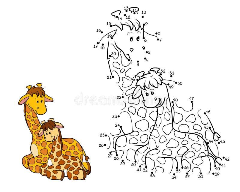 Gioco di numeri (due giraffe) illustrazione vettoriale