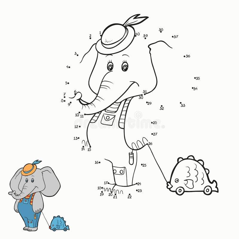 Gioco di numeri (elefante) illustrazione vettoriale