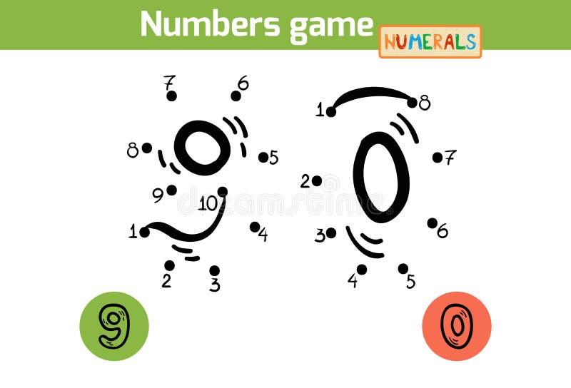 Gioco di numeri (numeri): nove, zero illustrazione vettoriale