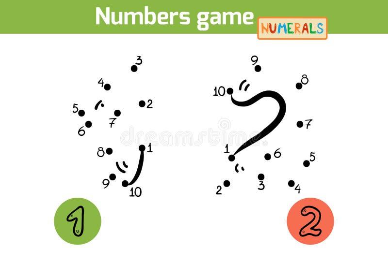 Gioco di numeri (numeri): uno, due illustrazione di stock