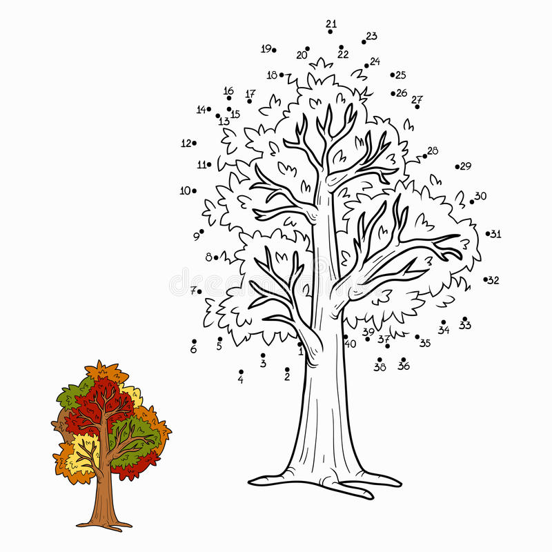 Gioco di numeri per i bambini albero di autunno - Colore per numeri per i bambini ...