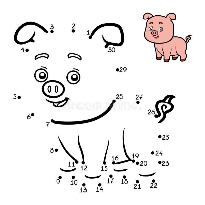 Gioco di numeri per i bambini piccolo maiale illustrazione - Colore per numeri per i bambini ...