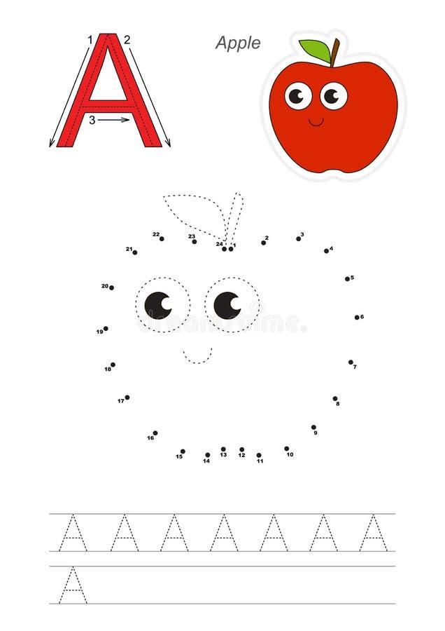Gioco di numeri per la lettera A Mela rossa illustrazione di stock