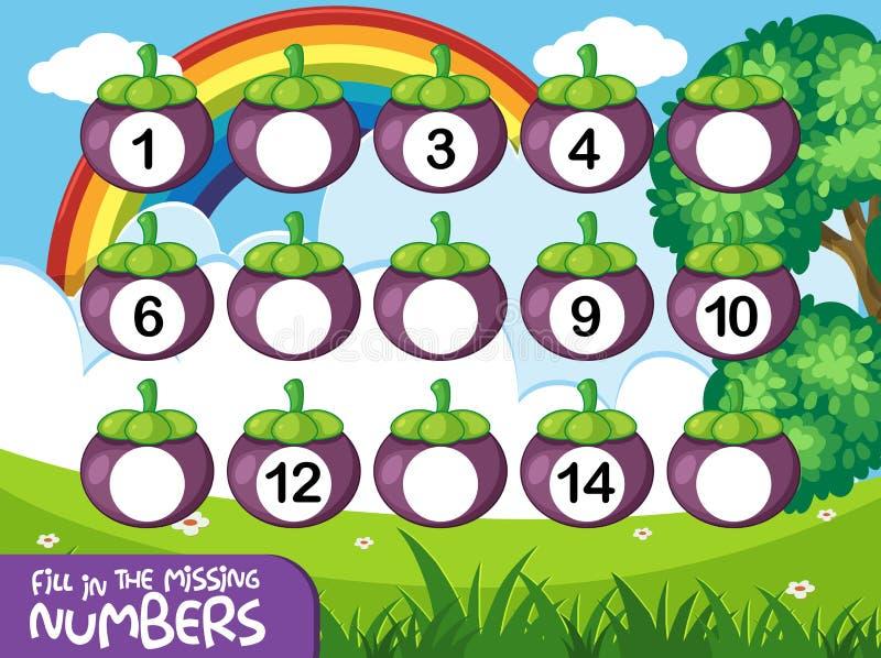 Gioco di numero couting di per la matematica royalty illustrazione gratis