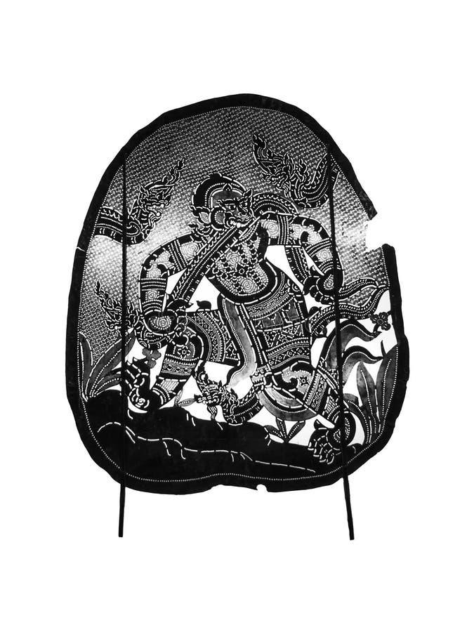 Gioco di ombra antico tailandese - burattino dell'ombra illustrazione di stock