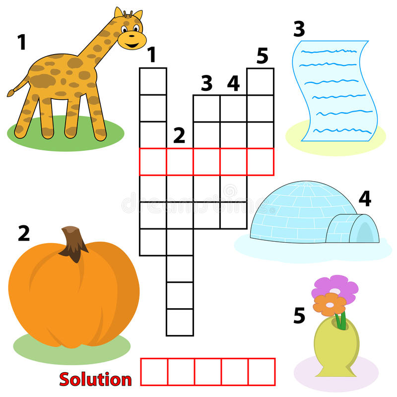 Gioco di parole delle parole incrociate per i bambini illustrazione vettoriale