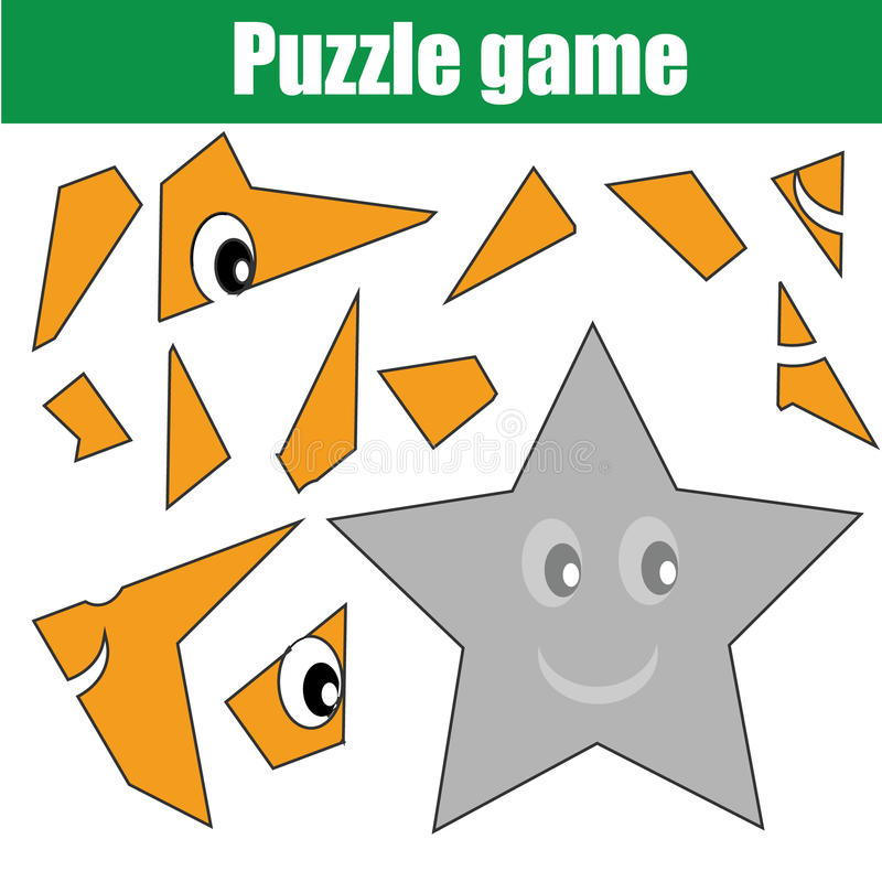 Gioco di puzzle con forma della stella Scheda di attività stampabile dei bambini royalty illustrazione gratis