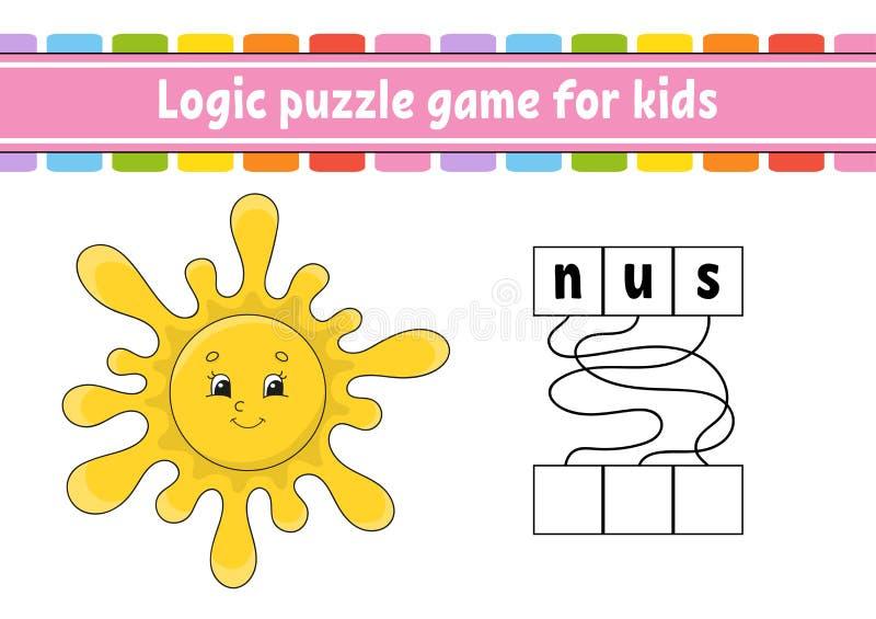 Gioco di puzzle di logica Apprendimento delle parole per i bambini Trovi il nome nascosto Foglio di lavoro di sviluppo di istruzi illustrazione di stock