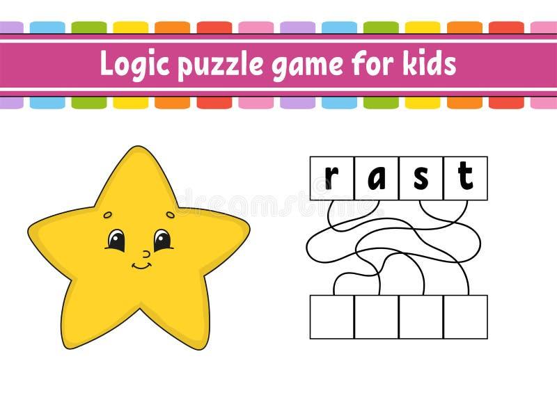 Gioco di puzzle di logica Apprendimento delle parole per i bambini Trovi il nome nascosto Foglio di lavoro di sviluppo di istruzi royalty illustrazione gratis