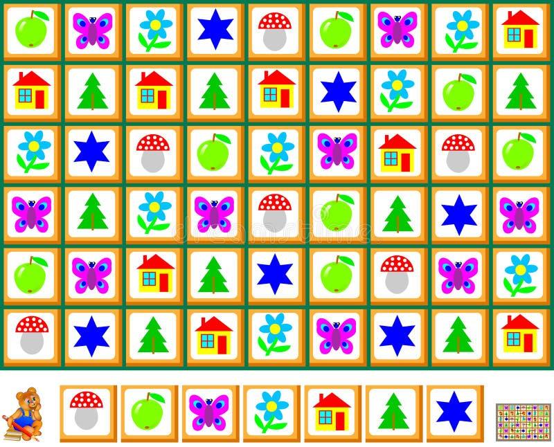 Gioco di puzzle di logica con il labirinto per i bambini e gli adulti Disegni una linea chiusa che rispetta la regolarità illustrazione di stock