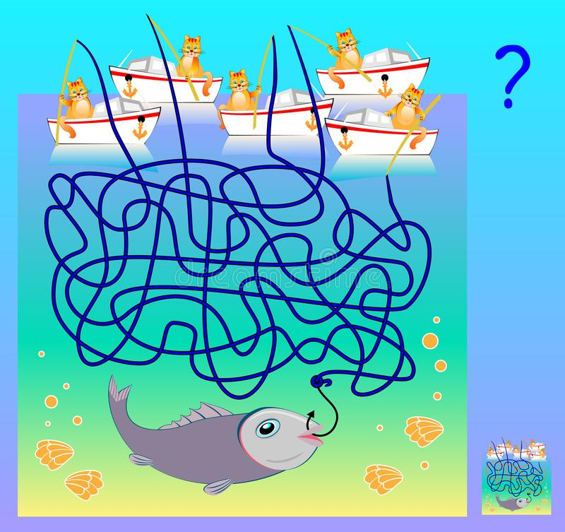 Gioco di puzzle di logica con il labirinto per i bambini e gli adulti Quale gatto ha pescato il pesce? Immagine del fumetto di ve illustrazione di stock