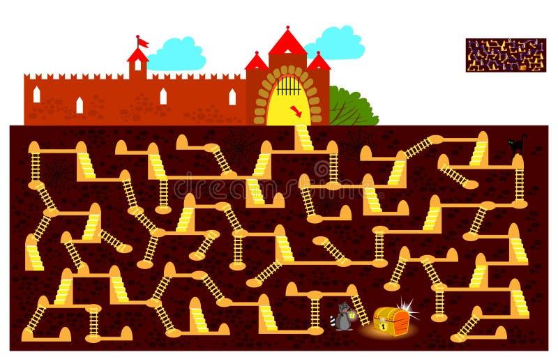 Gioco di puzzle di logica con il labirinto per i bambini e gli adulti Trovi la metropolitana di modo al forziere nascosto e tracc royalty illustrazione gratis