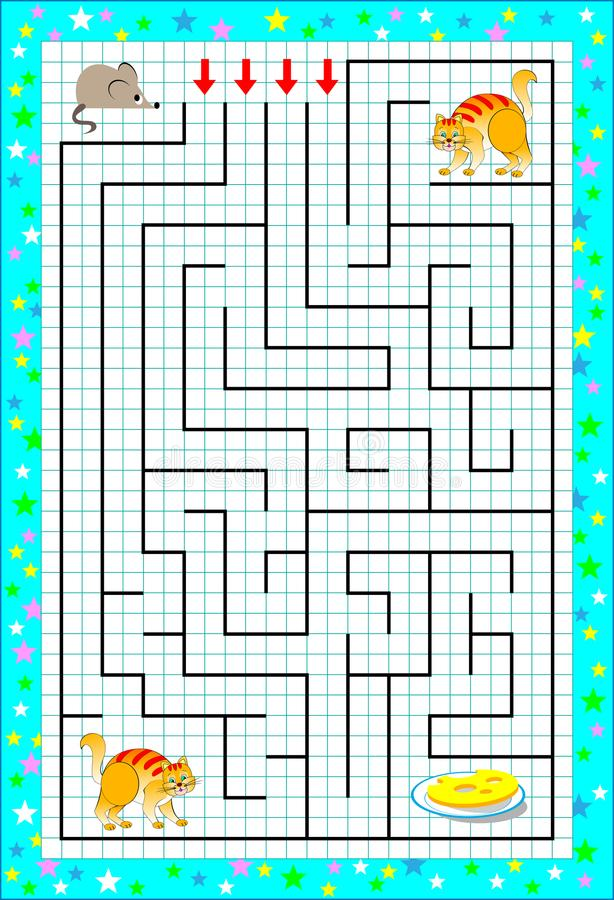 Gioco di puzzle di logica con il labirinto per i bambini su una carta quadrata Aiuti il topo a trovare il modo fino al formaggio  illustrazione di stock