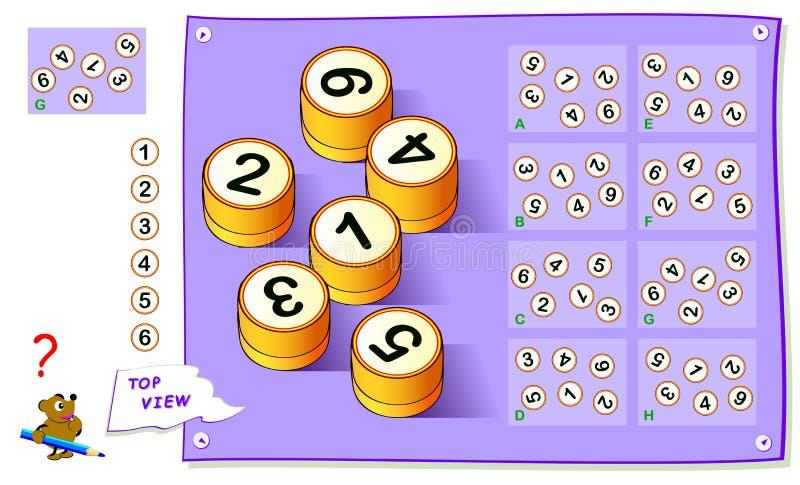 Gioco di puzzle di logica per i bambini Debba trovare la vista superiore corretta dei numeri Foglio di lavoro per il manuale scol illustrazione vettoriale