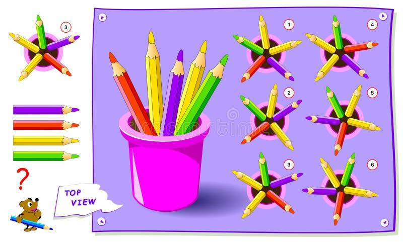 Gioco di puzzle di logica per i bambini Debba trovare la vista superiore corretta delle matite Foglio di lavoro per il manuale sc royalty illustrazione gratis