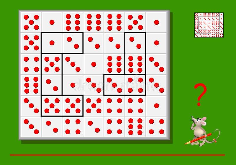 Gioco di puzzle di logica per i bambini e gli adulti Abbia bisogno del disaccordo i rettangoli dalle linee in modo che tutti i do illustrazione di stock