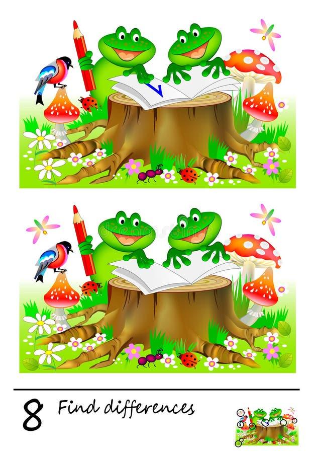 Gioco di puzzle di logica per i bambini e gli adulti Necessità di trovare 8 differenze Pagina per il libro del bambino Abilità di illustrazione vettoriale