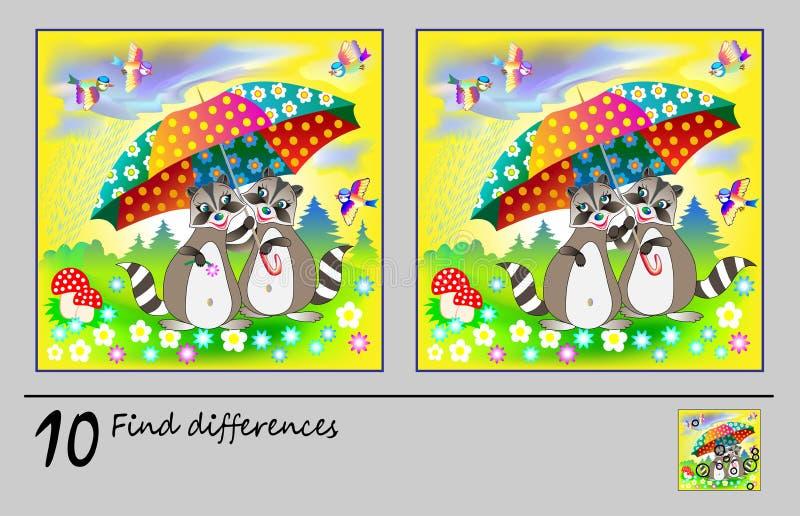 Gioco di puzzle di logica per i bambini Necessit? di trovare 10 differenze Pagina stampabile per il libro di puzzle del bambino P illustrazione di stock