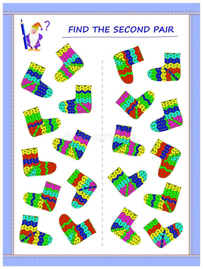 Gioco di puzzle di logica per i piccoli bambini Debba trovare le seconde paia di ogni calzino ed unirli disegnando le linee illustrazione vettoriale
