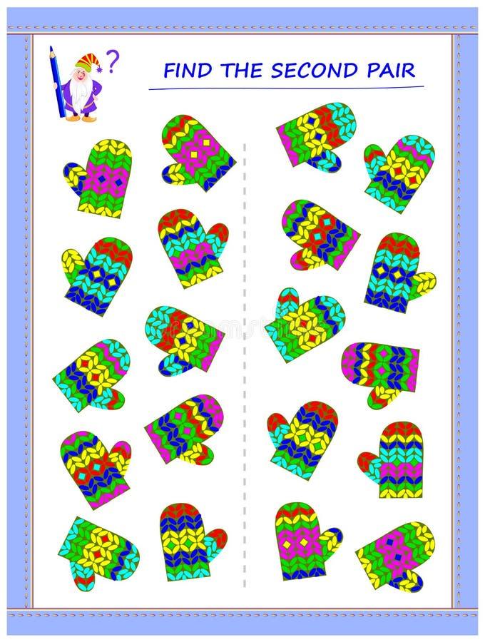 Gioco di puzzle di logica per i piccoli bambini Debba trovare le seconde paia di ogni guanto ed unirli disegnando le linee illustrazione vettoriale